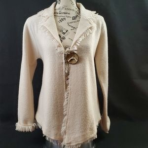 J'ENVIE Wool Cardigan Fringe White Small (683)